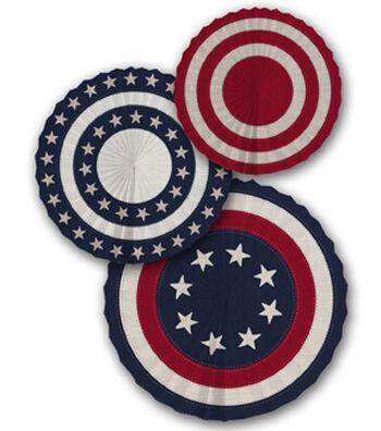 Americana Patriotic 3 pk Pinwheels-Stars & Stitched Stripes