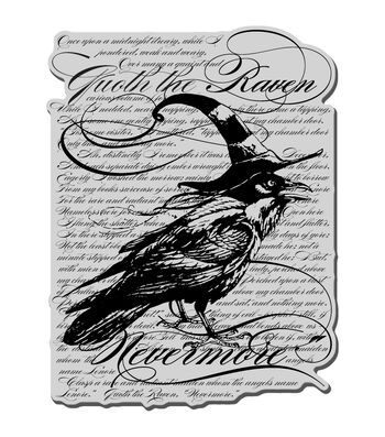 Stampendous Halloween Cling Rubber Stamp Raven Background