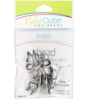 Eyelet Outlet Shape Brads-Coloring Book Butterflies