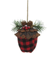 Maker's Holiday Christmas Woodland Lodge Acorn Ornament-Buffalo Check, , hi-res