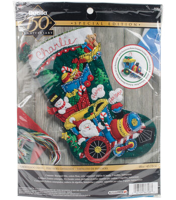 Bucilia Stocking Felt Applique Kit-Choo Choo Santa