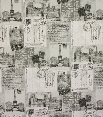 "Richloom Studio Print Fabric 54""-Postcards Grey"