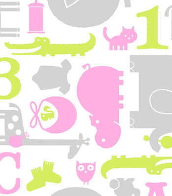 Snuggle Printed Flannel Fabric 42''-Pink, Green & Gray Baby Animals