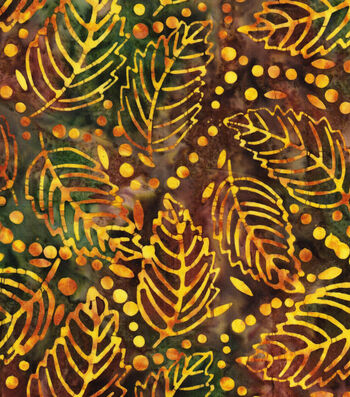 "Legacy Studio™ Indonesian Batiks Cotton Fabric 44""-Green Leaves"