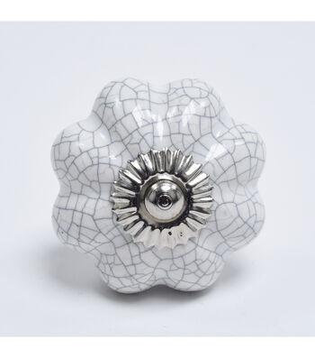 Dritz Home Ceramic Scallop Knob-White