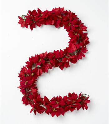 Blooming Holiday Christmas 66'' Poinsettia Chain Garland-Red
