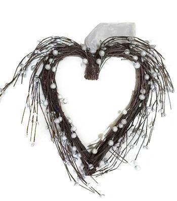 Valentine's Day Berry Heart Wreath-Silver