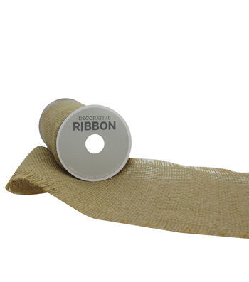 "Decorative Ribbon 5.5"" Brush Burlap Ribbon-Natural"