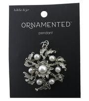 hildie & jo™ Ornamented 1.5''x1.25'' Flower Silver Pendant-Pearls, , hi-res