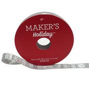 Maker's Holiday Christmas Satin Ribbon 3/8''x9'-Snowflake on Gray, , hi-res
