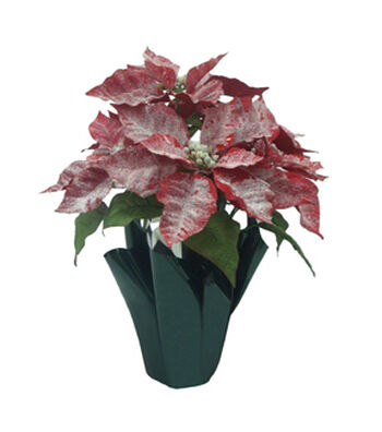 Blooming Holiday Christmas 16'' Poinsettia in Pot-Glisten Red
