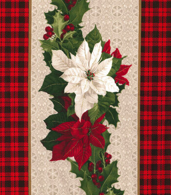"Christmas Cotton Fabric 44""-Plaid Poinsettia Stripe"