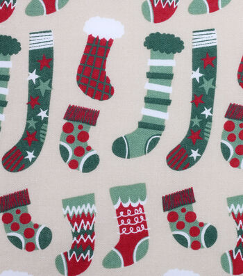 Christmas Cotton Fabric 43''-Holiday Stockings on Ivory