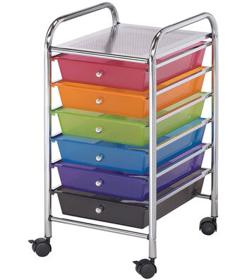 """Storage Cart with 6 Drawers-Multi Color 13""""X26""""X15.5"""""""