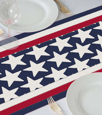 Americana Patriotic 18''x60'' Table Runner-Stars & Stitched Stripes