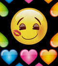Emoji Fleece Fabric 61\u0027\u0027-Hearts & Smiles