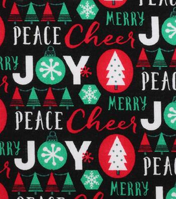 Holiday Showcase™ Christmas Cotton Fabric 43''-Words on Black