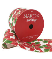 Maker's Holiday Christmas Ribbon 4''x40'-Big Poinsettia on White, , hi-res