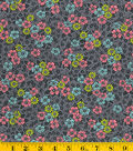 Made In America Cotton Fabric-Floral Pattern Black