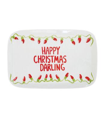 3R Studios Christmas Stoneware Serving Plate-Happy Christmas Darling