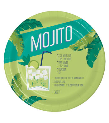 Summer Sol Pack of 8 9'' Paper Dinner Plates-Mojito