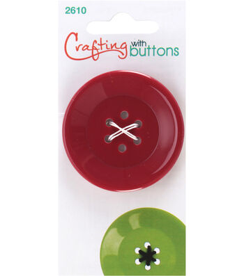 Crafting with Buttons Large 6 Hole Button-Burgundy