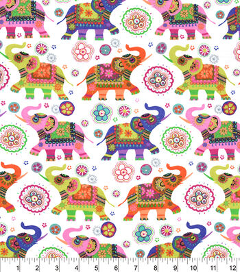 "Snuggle Flannel Fabric 42""-Patterned Elephants"