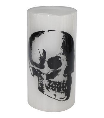 Maker's Halloween 3''x6'' Silk-screened LED Candle-Skull