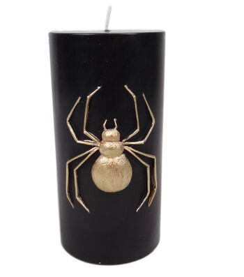 Maker's Halloween 3''x6'' Pillar Candle-Gold Spider Icon