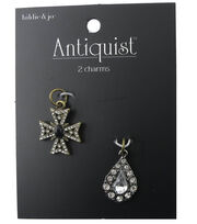 hildie & jo™ Cross Antique Gold & Teardrop Antique Silver Charms, , hi-res
