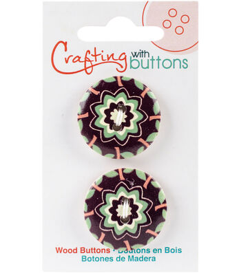 Crafting with Buttons Global Chic 2 pk 1'' Wood Buttons-Turkey Detail