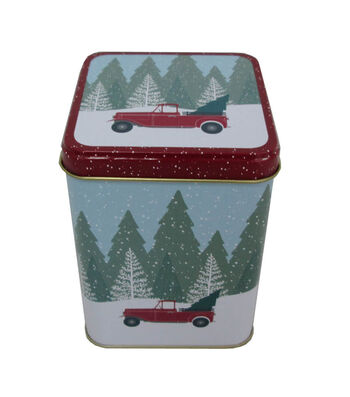Maker's Holiday Christmas Medium Square Solid Top Canister-Truck
