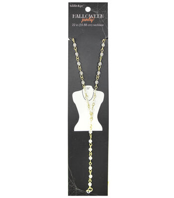 hildie & jo™ Halloween 22'' Rosary-style Gold Necklace-Clear Beads