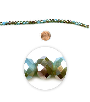 "Blue Moon Beads 7"" Strand 6x8mm Fire-Polished Rondelle, Turquoise/Brown"