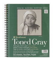 "Strathmore Toned Sketch Spiral Paper Pad 9""x12""-Gray 50 Sheets, , hi-res"