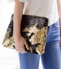 Reversible Sequin Fabric 53\u0022-Black & Gold