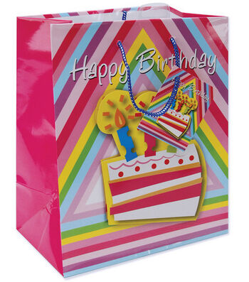 "10-1/2""x5-3/8""x13"" Gift Bags-Birthday Cake"