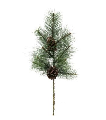 Blooming Holiday Christmas 27'' Long Pine Needle & Pinecones Spray-Green