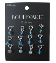 hildie & jo Boulevard 12 Pack Silver Charms-Blue Crystals, , hi-res
