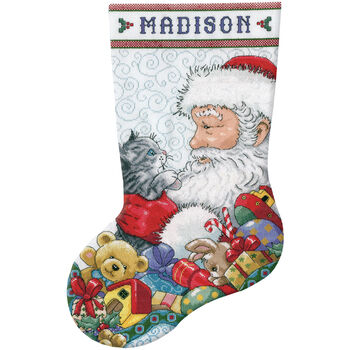 Design Works Santa & Kitten Stocking Counted Cross Stitch Kit