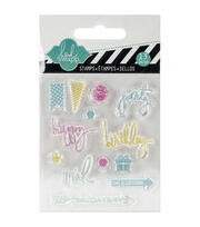 "Heidi Swapp Mixed Media Clear Mini Stamps 3""X3.5""-Party, , hi-res"