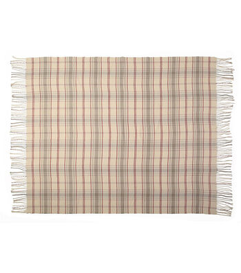 Fall Into Color 50''x60'' Throw-Neutral Plaid