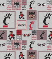 "University of Cincinnati Bearcats Fleece Fabric 58""-Gray Block, , hi-res"