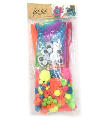 Pom-Pom & Chenille Kit 300 Pieces-Neon