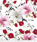 Simply Silky Prints Peach Skin Fabric 58\u0027\u0027-Cosmos & Poppy Spray