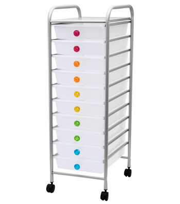 Jeweled 10-Drawer Rolling Organizer Cart