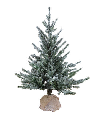 Maker's Holiday Christmas Flocking Tree with Color Changing Lights-Green