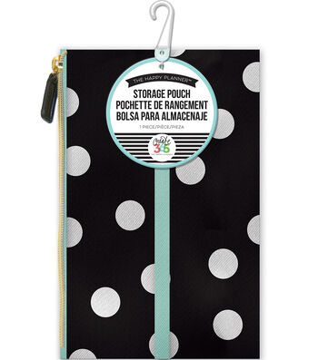 "Create 365 Happy Planner Pouch 5.7""X9.2""-White Scattered Dot"