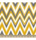 Anti-Pill Fleece Fabric Ikat Chevron Yellow