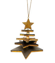 Maker's Holiday Christmas Glistening Pines Leather Layered Star Ornament, , hi-res